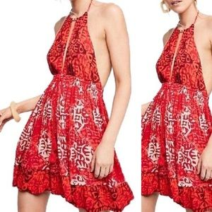 NWT Free People Red/Cream Beach Day Backless Dress